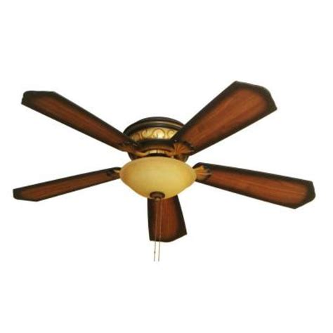 hton bay celestite 52 in aged walnut hugger ceiling fan with 5 reversible plywood blades and