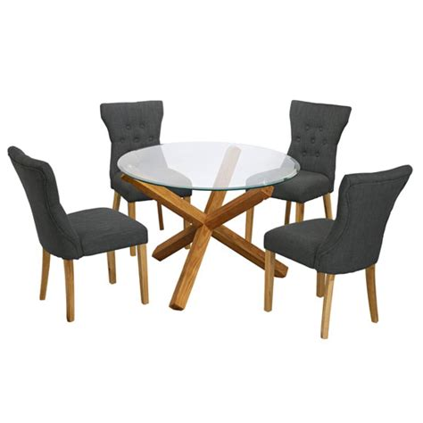 round glass table with 4 chairs optro round glass dining table and 4 naples grey dining