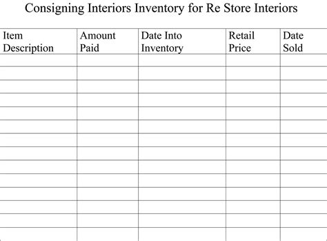 inventory sheets   booth printables antique