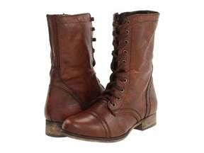 womens brown boots nz 39 s shoes steve madden troopa leather lace up combat boots brown ebay