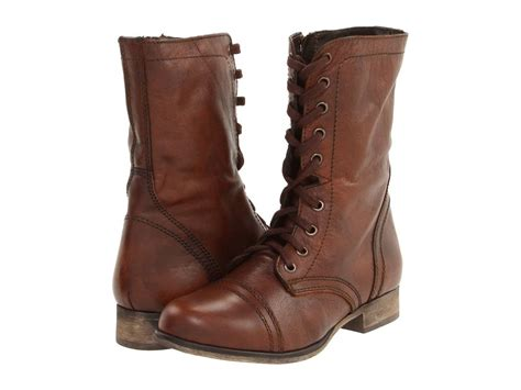 Women's Shoes Steve Madden Troopa Leather Lace Up Combat
