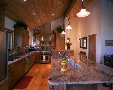 tongue  groove pine ceiling   rustic white oak flooring knotty alder cabinets ge