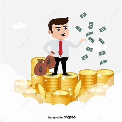 Money Businessman Clipart Happy Transparent Cartoon Kesihatan