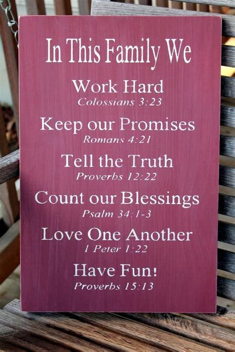 hand painted christian family rules wood sign