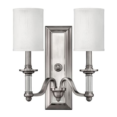 double pewter wall light in traditional classic style with