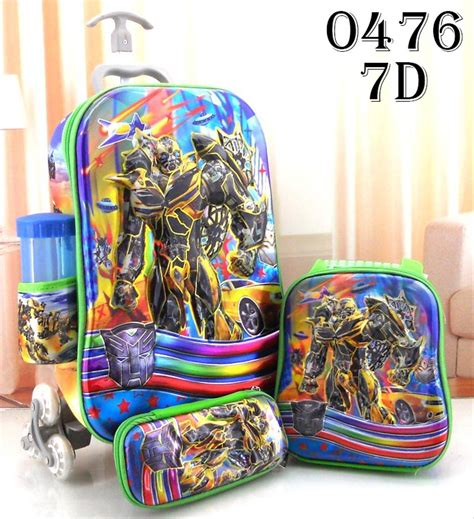 jual tas sekolah anak sd trolley import trolly tarik dorong troli 7d 6 roda 3 kanan kiri 4in1