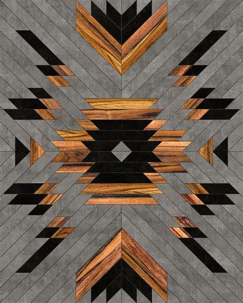 urban tribal pattern  aztec concrete  wood