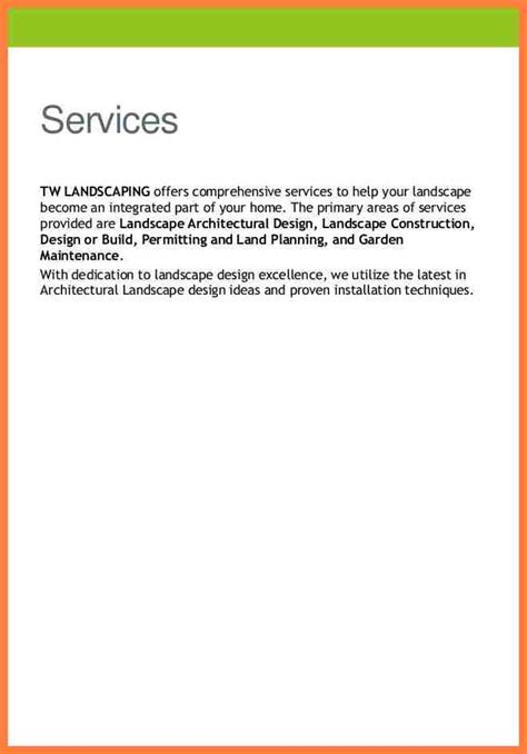 landscaping company profile sample company letterhead