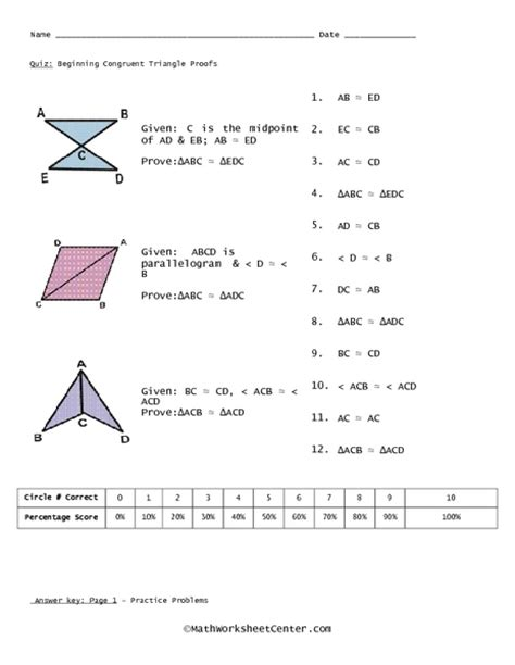 quiz beginning congruent triangle proofs worksheet for 10th 11th grade lesson planet