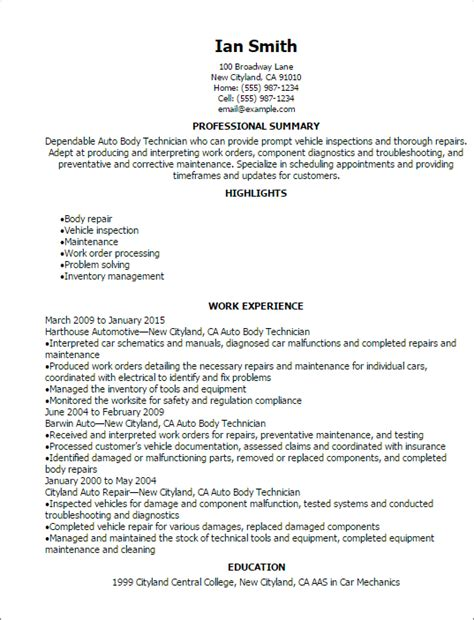 Auto Mechanic Resume by Automotive Resume Templates To Impress Any Employer