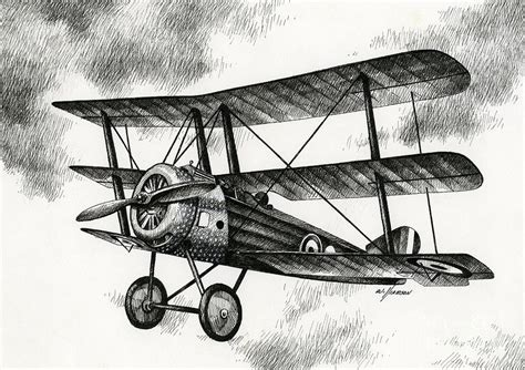 50s home decor sopwith triplane 1917 drawing by williamson