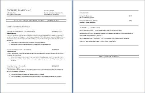 Cv Exemplaires by C V De S 233 Curit 233 Et De Pr 233 Vention Exemple De Cv Info