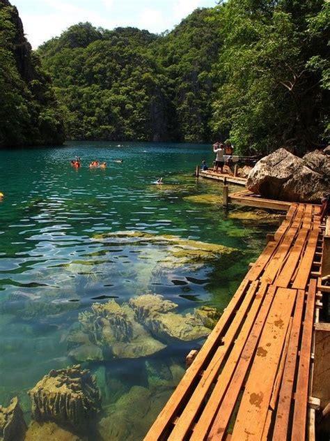 wooden walkway kayangan lake philippin  pictures