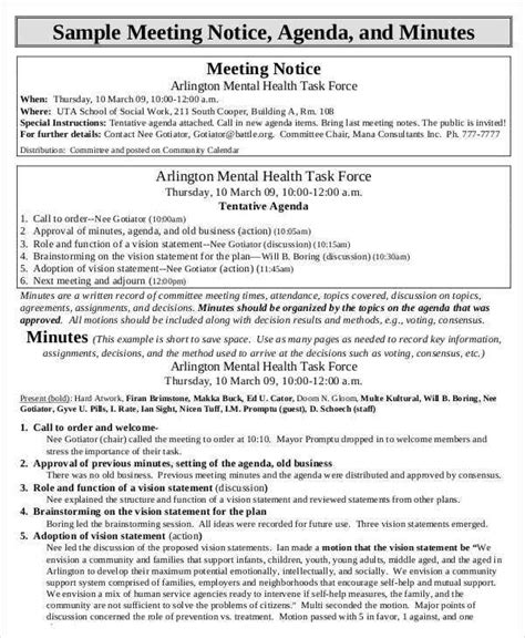 agenda minutes templates  samples examples