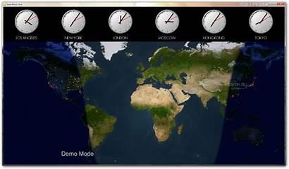 Clock Map Night Solar Clocks Desktop Worldwide