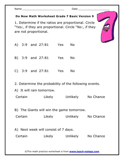 Probability Math Worksheet Worksheets For All  Download And Share Worksheets  Free On
