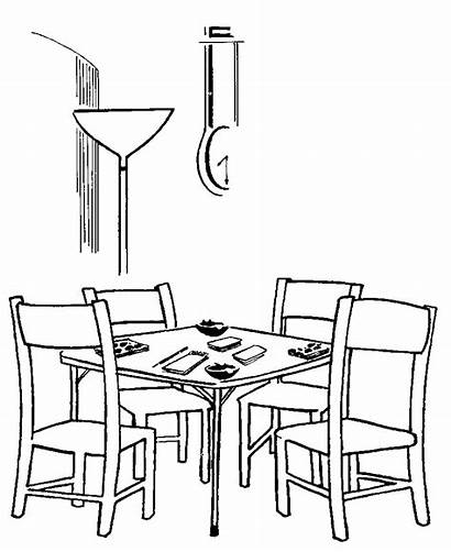 Coloring Table Pages Dining Colouring Printable Bridge