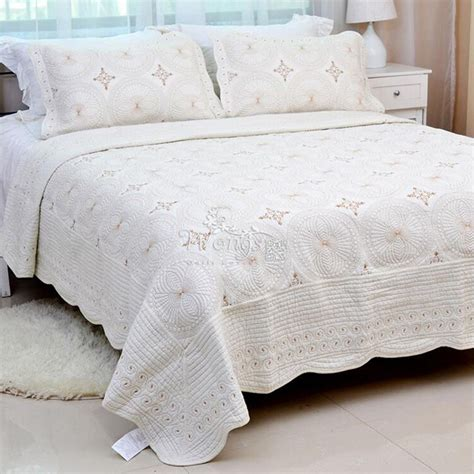 Floral Quilted Bedspreads Cotton Queenking Size Bed