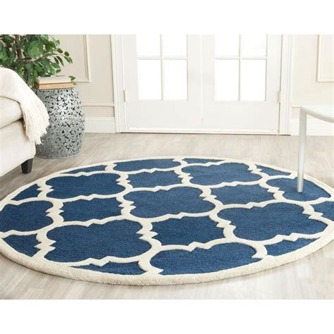 4 Area Rugs by Safavieh Cambridge Navy Ivory 4 Ft X 4 Ft Area Rug