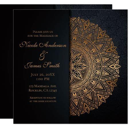 Black & Gold Mandala Elegant Wedding Marriage Invitation