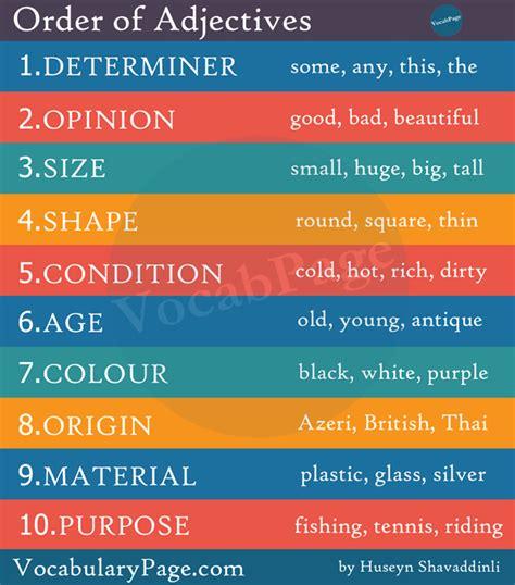 vocabularypagecom order  adjectives