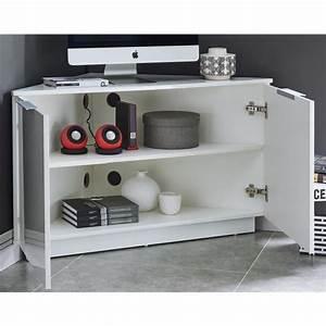 Meuble Tv D Angle Blanc : swan meuble tv d 39 angle contemporain laque blanc brillant l 102 cm 542517 ~ Teatrodelosmanantiales.com Idées de Décoration