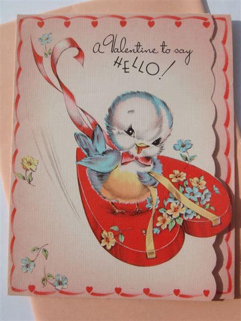 vintage die cut st valentines day card blue bird