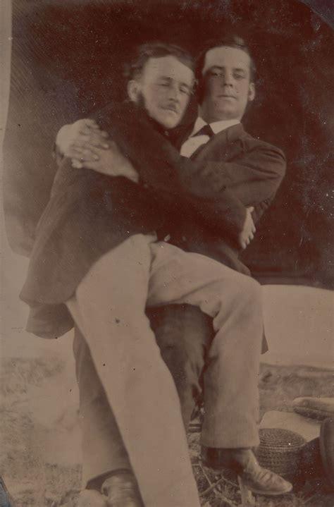 rare  capture victorian men holding hands sitting