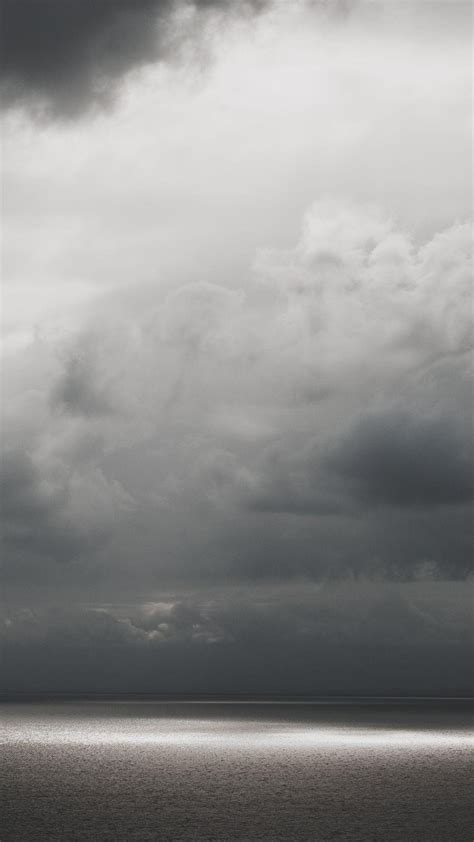 water clouds grey android wallpaper
