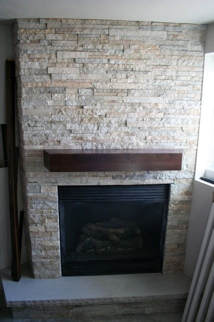 Stacked Stone Fireplace  Modern  Basement  Other  By
