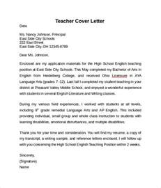 Exles Cover Letter For Teachers by Cover Letter Exle 10 Free Documents