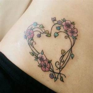 Heart And Cherry Blossom Stomach Tattoo