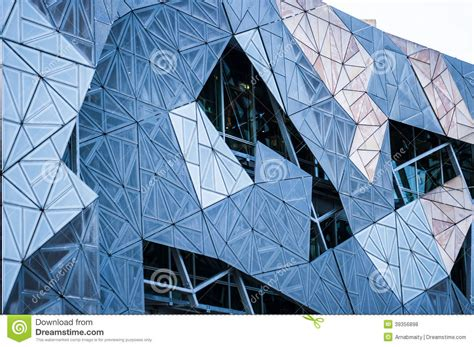 Building Patterns Close Up In Fed Square Melbourne Stock