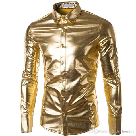 night club wear metallic gold shirt mens dress shirts