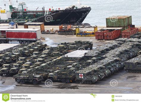 Army Car Shipping Ports by Vehicles At Stock Photo Image 16610240