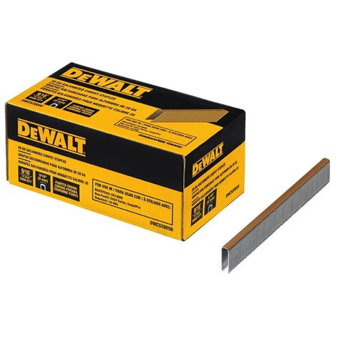 home depot flooring staples dewalt 20 gauge 9 16 in l galvanized carpet staples 5 000 per box dwcs20056 the home depot