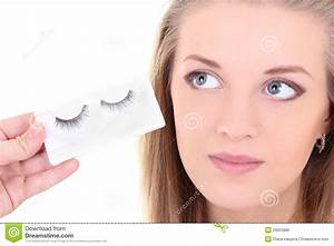 Blondie Woman With Artificial Eyelashes Stock Photo ...