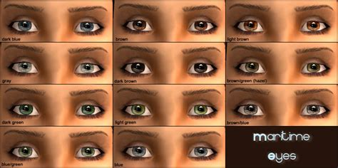 eye colors list mod the sims maritime 11 colors geneticized 4