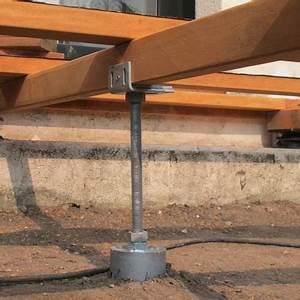 plots beton terrasse en bois utilisez les plots de fondation With fondation pour terrasse en bois