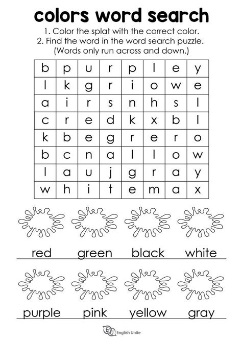 colors word search puzzle  images english