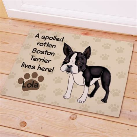 Personalized Boston Terrier Dog Doormat Spoiled Rotten Dog