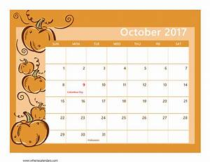 October 2017 Calendar Printable Template with Holidays