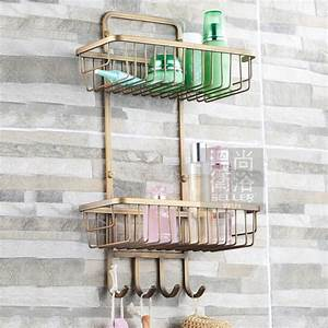 Decorative wall shelves with hooks : Free shiping antique bronze copper tier bathroom