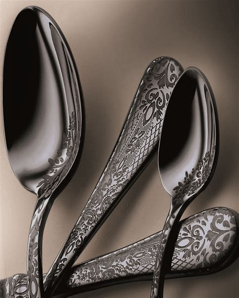 mepra oro nero flatware casablanca gunmetal luxury lace titanium various finishes including decor ice popular