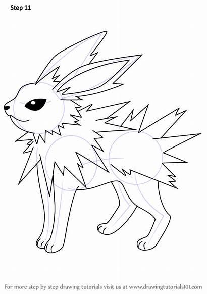 Pokemon Draw Jolteon Step Drawing Cartoon Animated