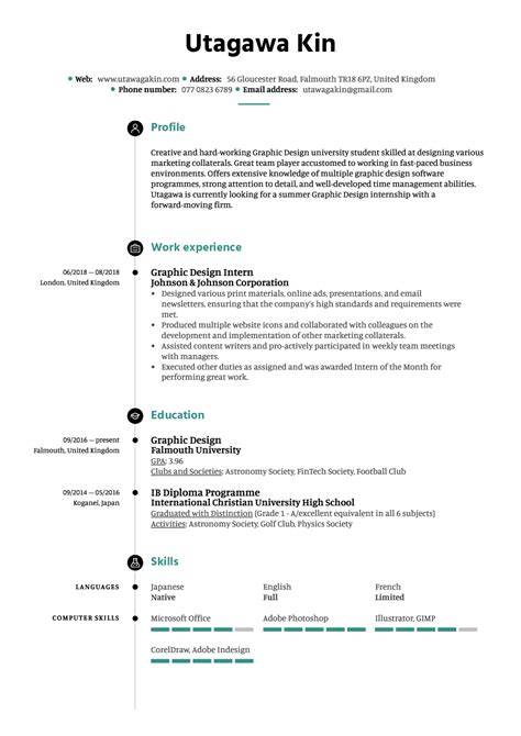 graphic design intern resume  kickresume