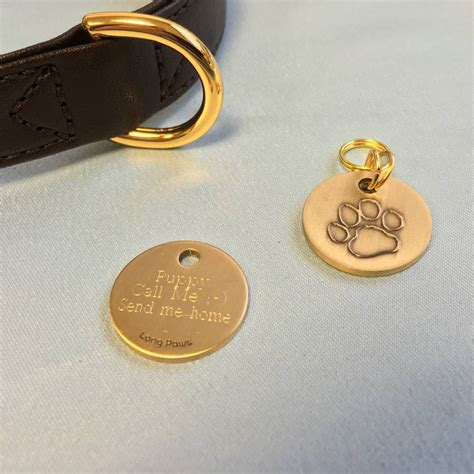 personalised antique gold pet tag by long paws