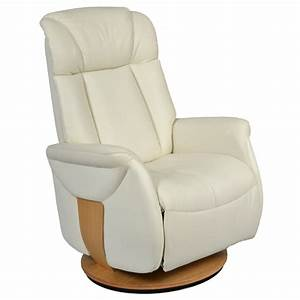 Fauteuil relaxation manuel cuir et bois rotation 360 for Fauteuil relaxation