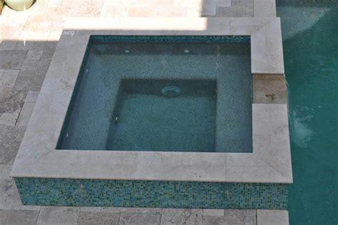 rectangular pool spa  glass tile