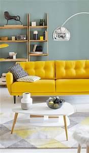 sos deco le jaune moutarde a la rescousse salons With tapis jaune avec canapé fixe design